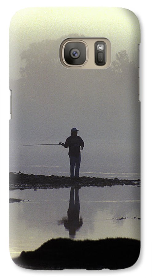 Early Galaxy S7 Case featuring the photograph Lone Fisherman by Carl Purcell