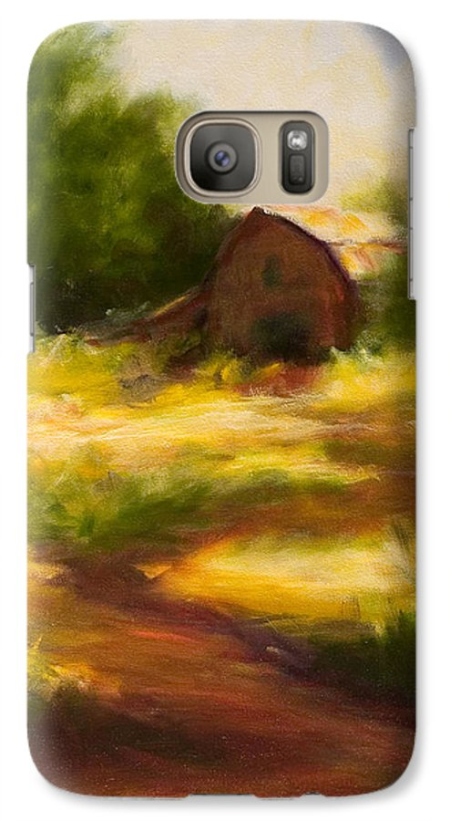 Landscape Galaxy S7 Case featuring the painting Long Road Home by Shannon Grissom