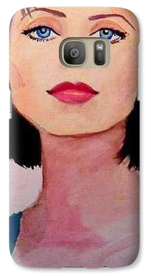 Sexy Lady Galaxy S7 Case featuring the painting Look by Laura Rispoli