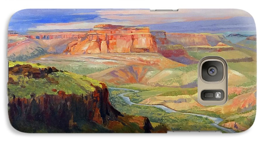 Landscape Galaxy S7 Case featuring the painting Look Out At White Rock by Nancy Paris Pruden
