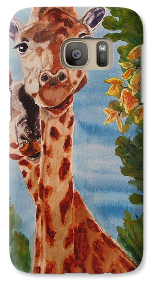 Giraffes Galaxy S7 Case featuring the painting Lookin Back by Karen Ilari