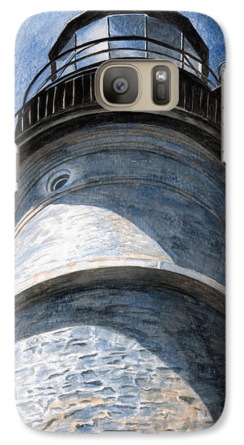 Lighthouse Galaxy S7 Case featuring the painting Looking Up Portland Head Light by Dominic White