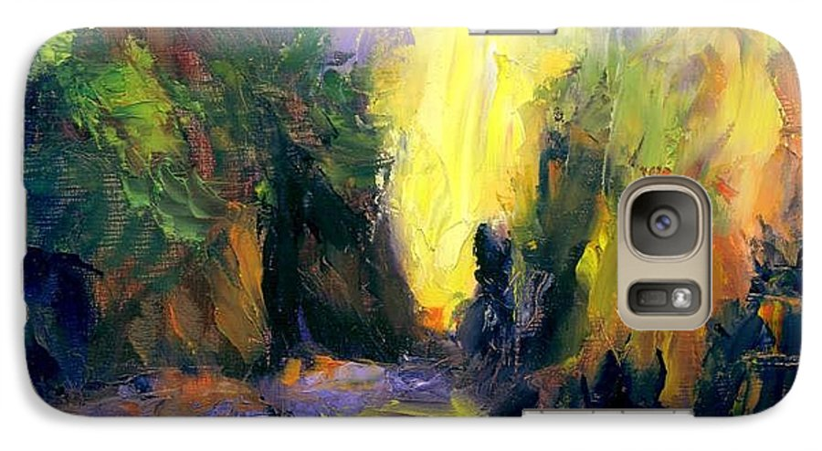 Landscape Galaxy S7 Case featuring the painting Lost Creek by Gail Kirtz