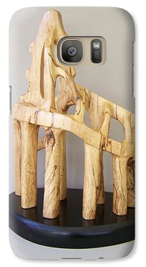 Wood-carving-sculpture-abstract- Galaxy S7 Case featuring the sculpture Lost Glory by Norbert Bauwens