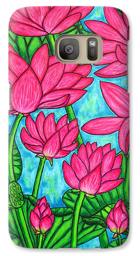 Galaxy S7 Case featuring the painting Lotus Bliss by Lisa Lorenz