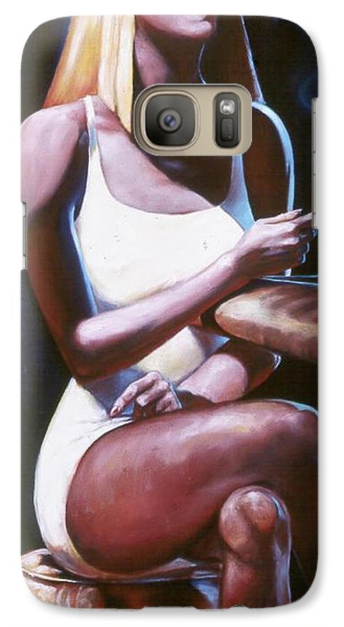 Figure Galaxy S7 Case featuring the painting Lounge Lizard's Eye View by T Ezell
