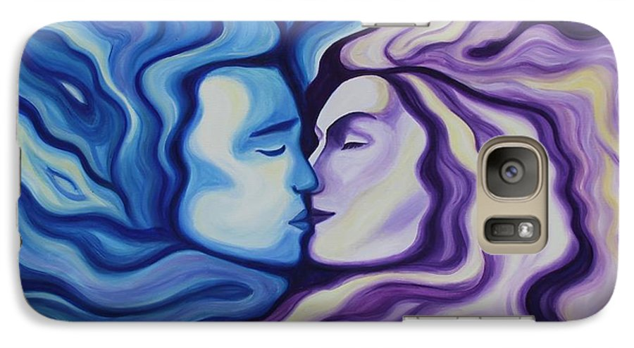Acrylic Galaxy S7 Case featuring the painting Lovers In Eternal Kiss by Jindra Noewi