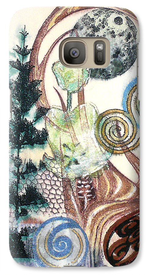 Abstract Galaxy S7 Case featuring the painting Luna 1 by Valerie Meotti