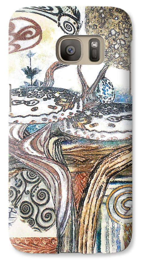 Abstract Galaxy S7 Case featuring the painting Luna 3 by Valerie Meotti