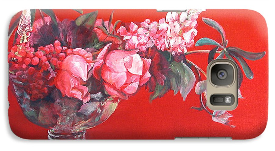 Floral Painting Galaxy S7 Case featuring the painting Lupin by Muriel Dolemieux