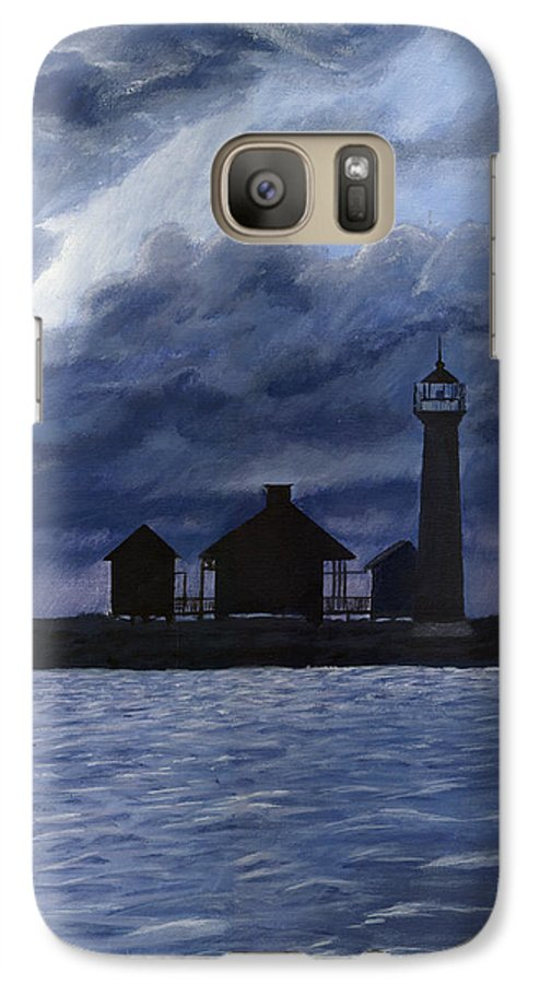 Landscape Galaxy S7 Case featuring the painting Lydia Ann Lighthouse by Adam Johnson