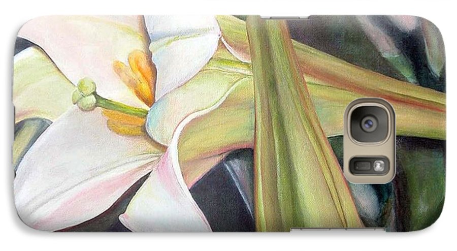 Floral Painting Galaxy S7 Case featuring the painting Lys by Muriel Dolemieux