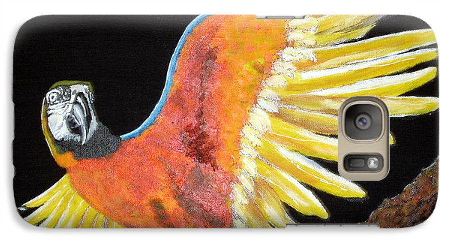 Macaw Galaxy S7 Case featuring the painting Macaw - Wingin' It by Susan Kubes