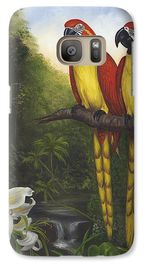 Landscape Galaxy S7 Case featuring the painting Macaws And Lillies by Anne Kushnick