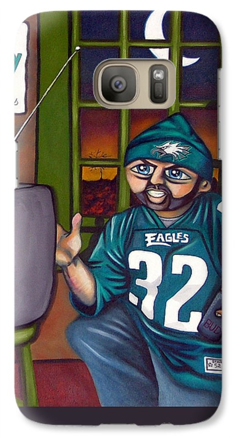 Philadelphia Galaxy S7 Case featuring the painting Mad Philly Fan In Texas by Elizabeth Lisy Figueroa