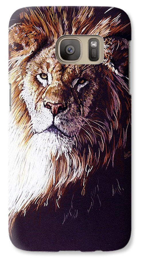 Lion Galaxy S7 Case featuring the drawing Maestro by Barbara Keith