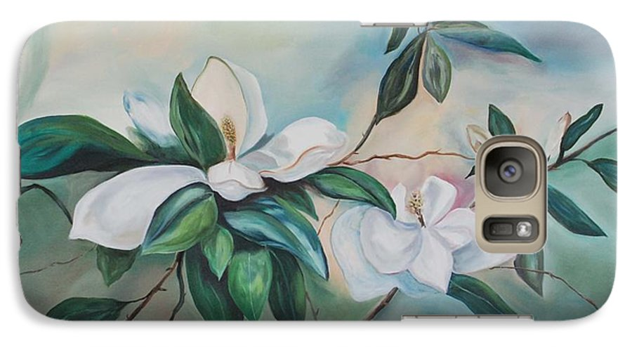 Flowers Galaxy S7 Case featuring the painting Magnolia Summer by Margaret Fortunato