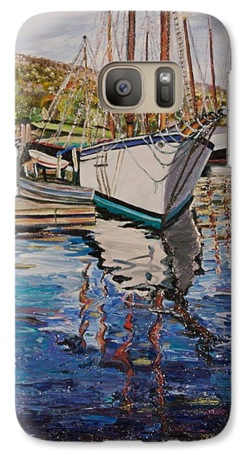 Maine Galaxy S7 Case featuring the painting Maine Coast Boat Reflections by Richard Nowak