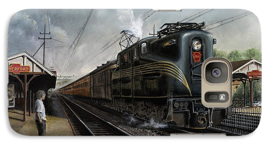 Trains Galaxy S7 Case featuring the painting Mainline Memories by David Mittner