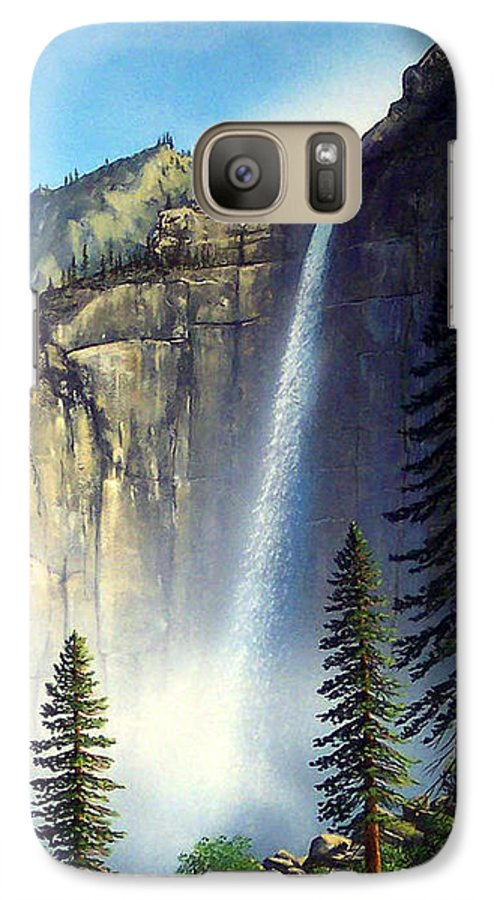Landscape Galaxy S7 Case featuring the painting Majestic Falls by Frank Wilson