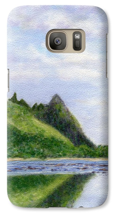 Rainbow Colors Pastel Galaxy S7 Case featuring the painting Makana Reflection by Kenneth Grzesik