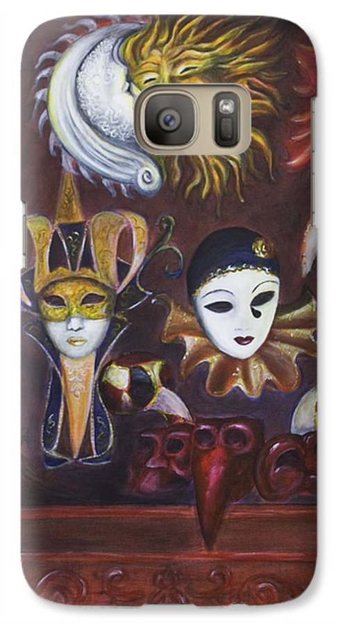Masks Galaxy S7 Case featuring the painting Making Faces II by Nik Helbig