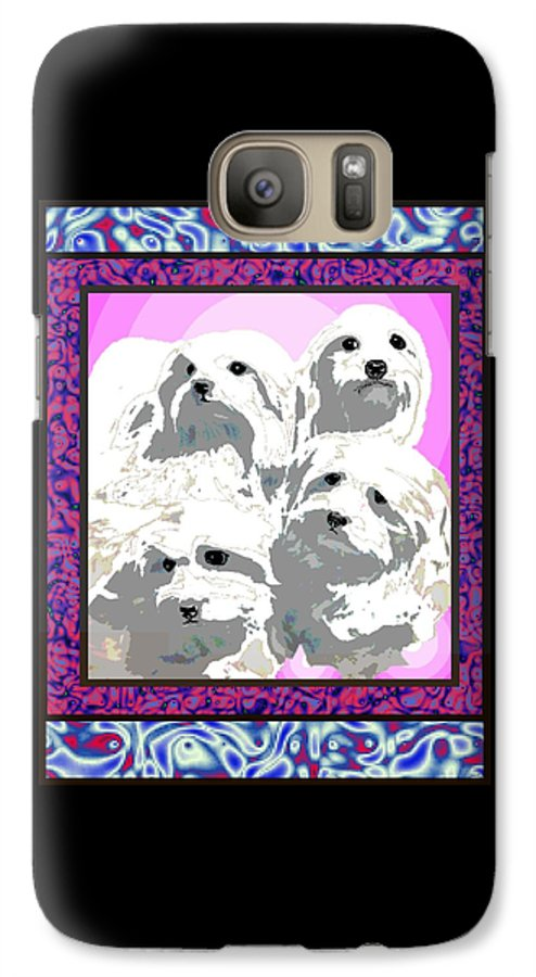 Maltese Group Galaxy S7 Case featuring the digital art Maltese Group by Kathleen Sepulveda