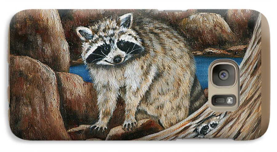 Racoon Galaxy S7 Case featuring the painting Mama Racoon by Ruth Bares
