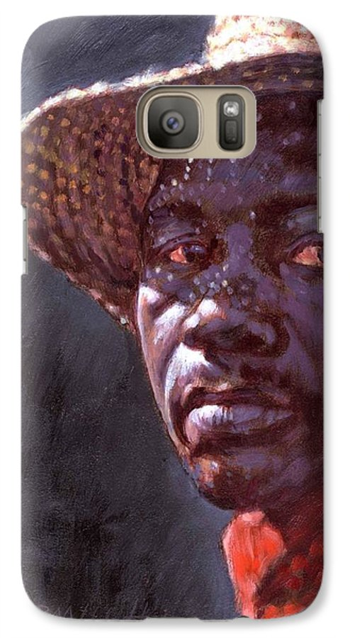 Black Man Galaxy S7 Case featuring the painting Man In Straw Hat by John Lautermilch