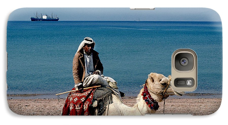 Dromedary Galaxy S7 Case featuring the photograph Man With Camel At Red Sea by Carl Purcell
