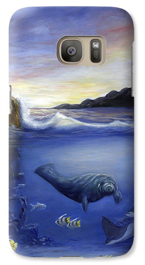 Seaworld Galaxy S7 Case featuring the painting Manatee by Anne Kushnick