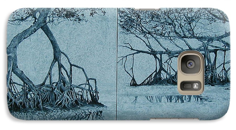 Blue Galaxy S7 Case featuring the painting Mangroves by Leah Tomaino