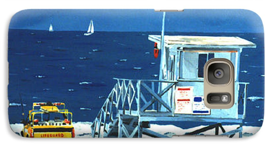 Modern Galaxy S7 Case featuring the painting Manhattan Beach Lifeguard Station by Lance Headlee