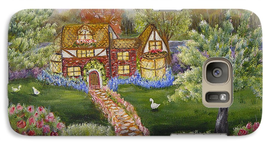 Landscape Galaxy S7 Case featuring the painting Manor Of Yore by Quwatha Valentine