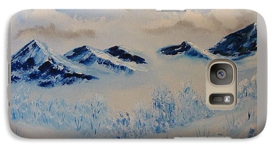 Blue Galaxy S7 Case featuring the painting Many Valleys by Laurie Kidd