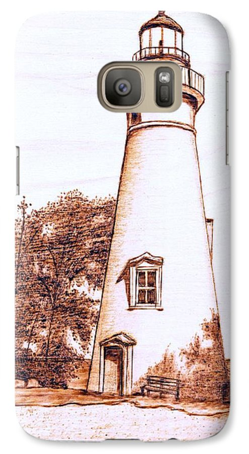 Lighthouse Galaxy S7 Case featuring the pyrography Marblehead Lighthouse by Danette Smith