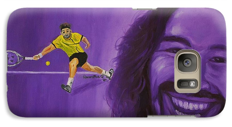 Marcos Galaxy S7 Case featuring the painting Marcos Baghdatis by Quwatha Valentine