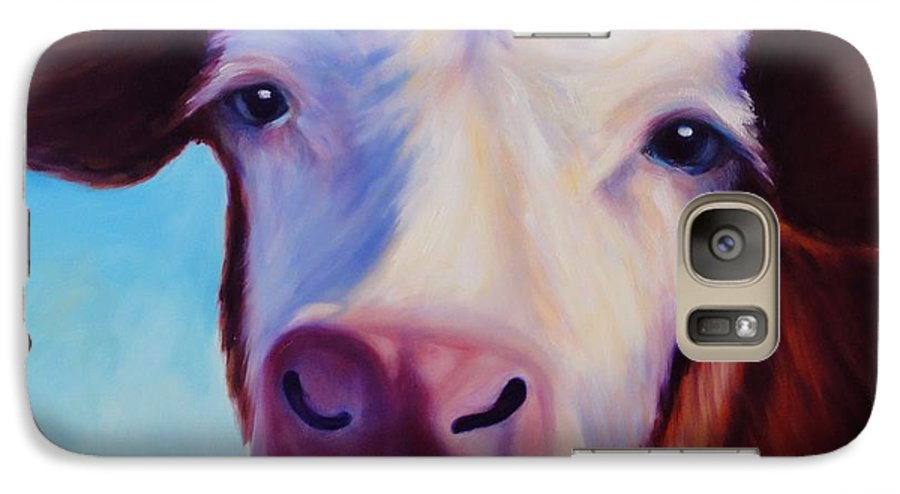 Cow Galaxy S7 Case featuring the painting Marie by Shannon Grissom