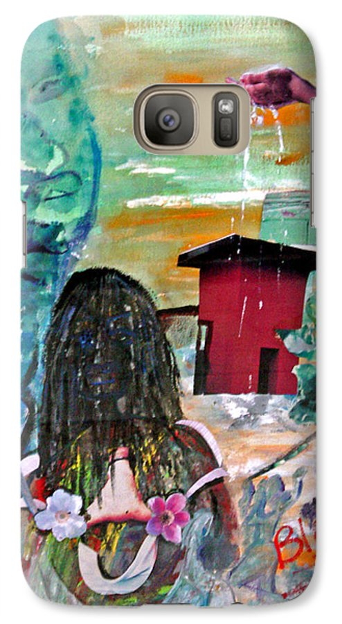 Water Galaxy S7 Case featuring the painting Masks Of Life by Peggy Blood