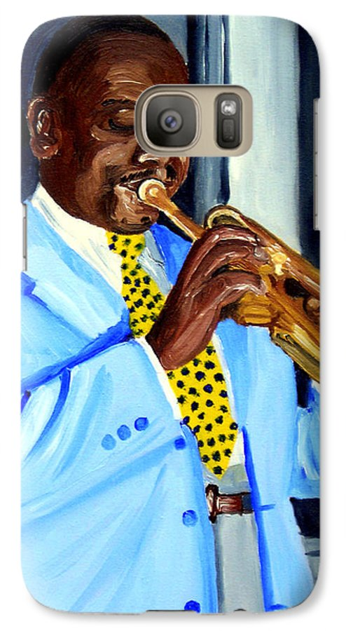 Street Musician Galaxy S7 Case featuring the painting Master Of Jazz by Michael Lee