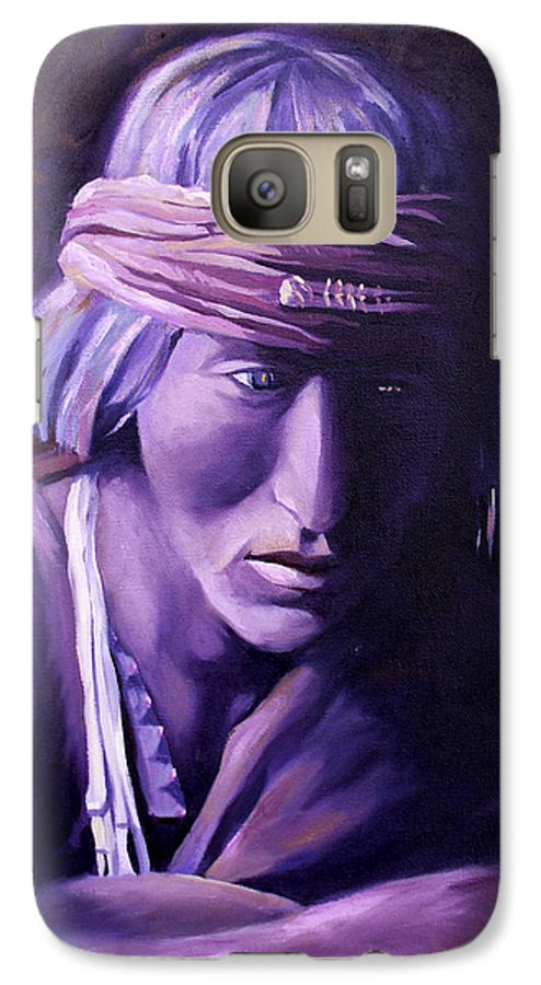 Native American Galaxy S7 Case featuring the painting Medicine Man by Nancy Griswold