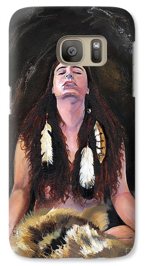 Southwest Art Galaxy S7 Case featuring the painting Medicine Woman by J W Baker