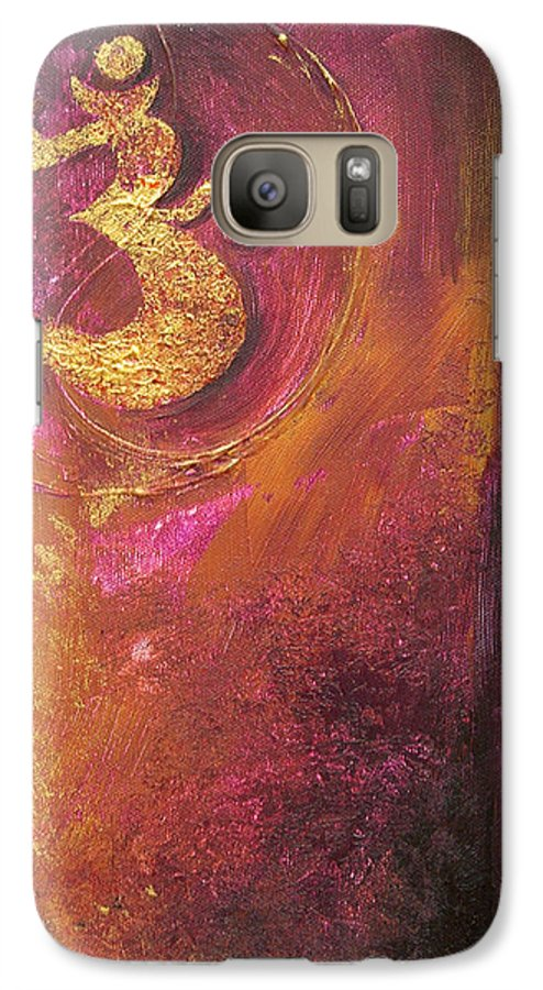 Ohm Om Mantra Yoga Spiritual Buddhist Meditationabstract Galaxy S7 Case featuring the painting Meditations by Dina Dargo