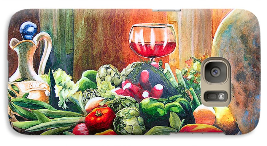 Still Life Galaxy S7 Case featuring the painting Mediterranean Table by Karen Stark
