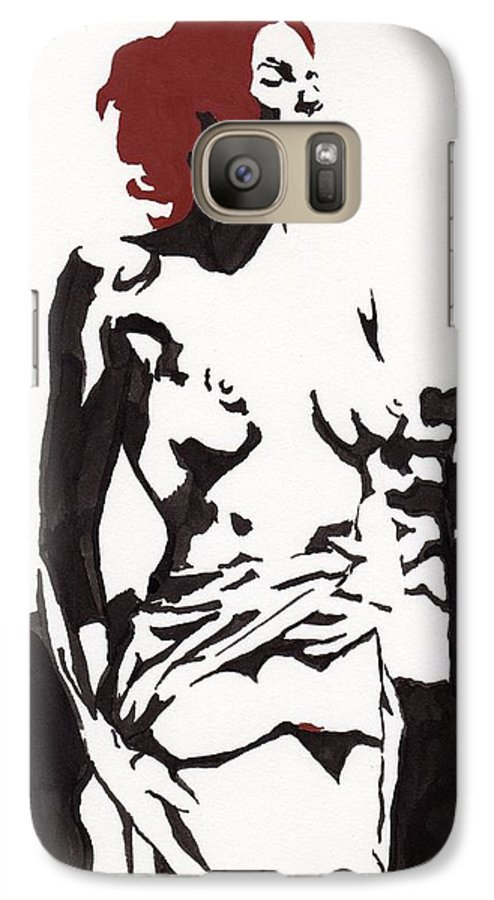 Galaxy S7 Case featuring the drawing Megan - Sunlight by Stephen Panoushek