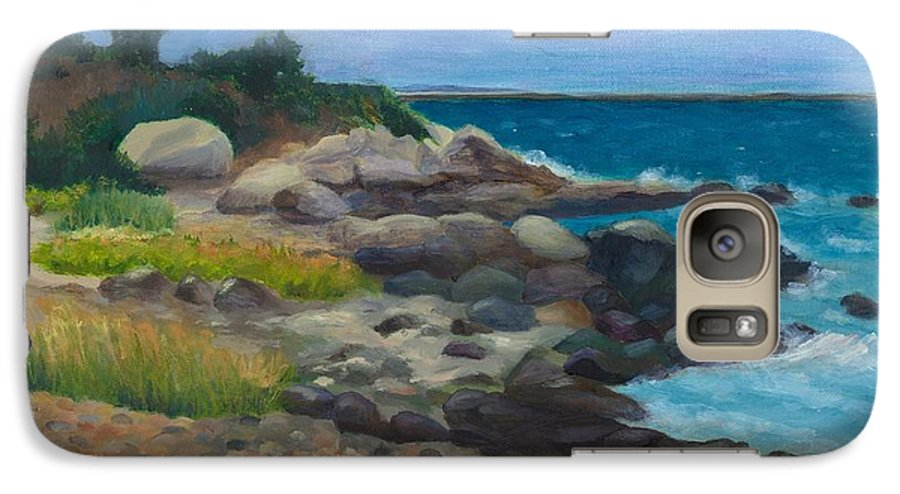 Landscape Galaxy S7 Case featuring the painting Meigs Point by Paula Emery