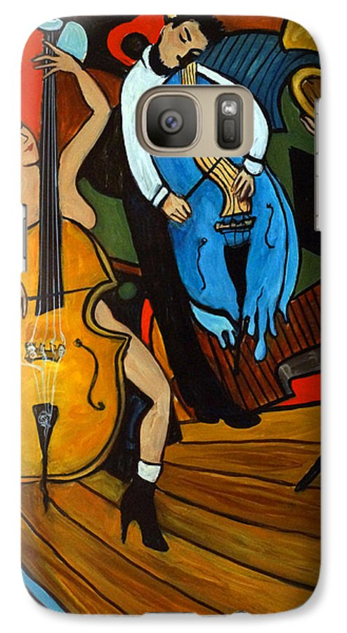 Musician Abstract Galaxy S7 Case featuring the painting Melting Jazz by Valerie Vescovi