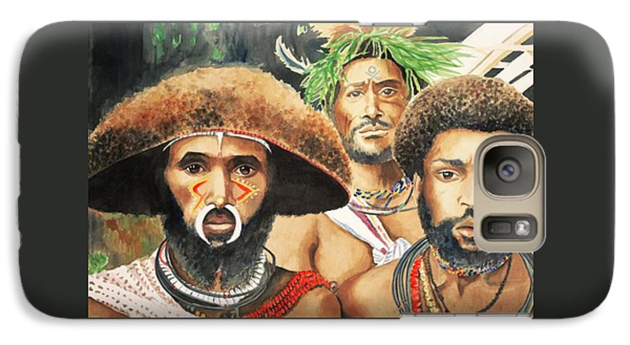 Men From New Guinea Galaxy S7 Case featuring the painting Men From New Guinea by Judy Swerlick
