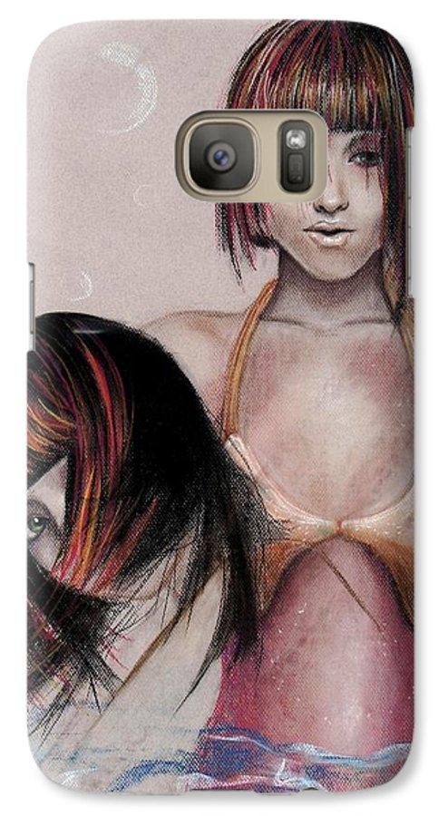 Mermaid Galaxy S7 Case featuring the drawing Mermaid Emerging by Maryn Crawford