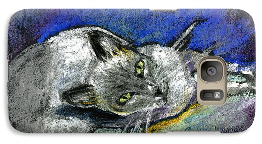Cat Galaxy S7 Case featuring the pastel Michael Campbell by Arline Wagner